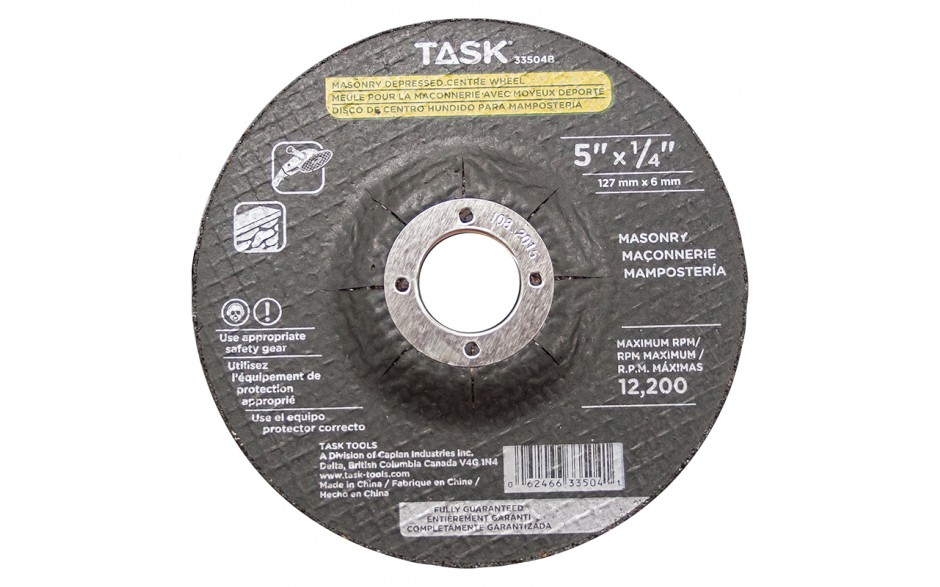 "5"" x 1/4"" 7/8"" Arbor Masonry Depressed Center Wheel - Bulk"