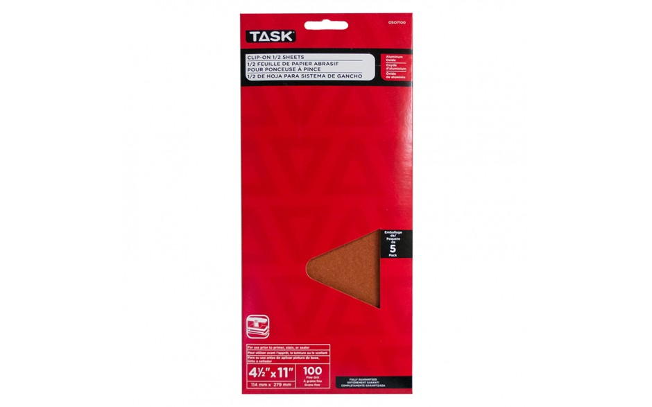 "4-1/2"" x 11"" 100 Grit Fine Aluminum Oxide 1/2 Clip-On Sheets - 5/pack"