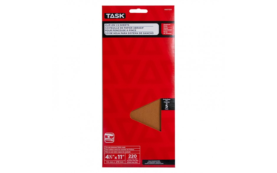 """4-1/2"""" x 11"""" 220 Grit Very Fine Aluminum Oxide 1/2 Clip-On Sheets - 5/pack"""