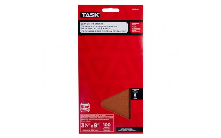 "3-2/3"" x 9"" 100 Grit Fine Aluminum Oxide 1/3 Clip-On Sheets - 5/pack"