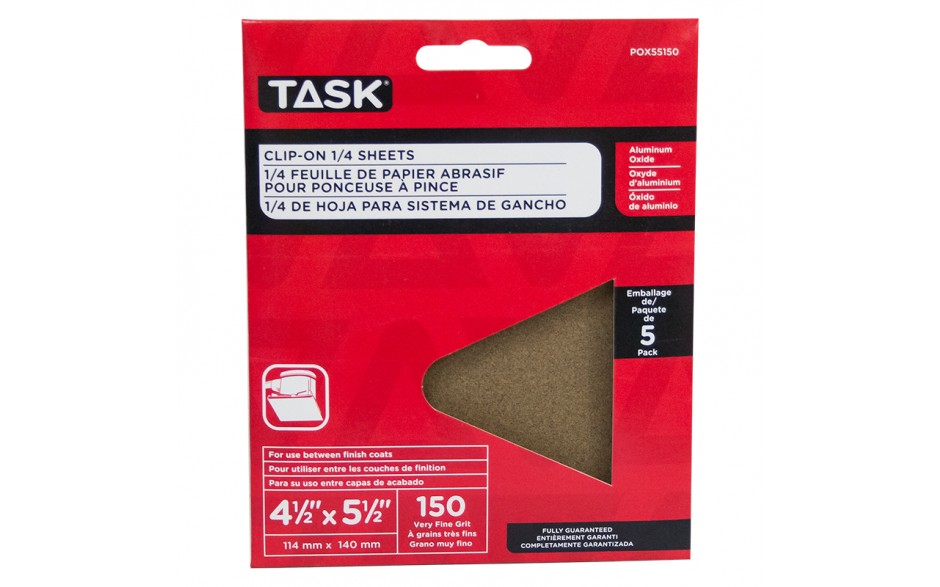 "4-1/2"" x 5-1/2"" 150 Grit Very Fine Aluminum Oxide 1/4 Clip-On Sheets - 5/pack"