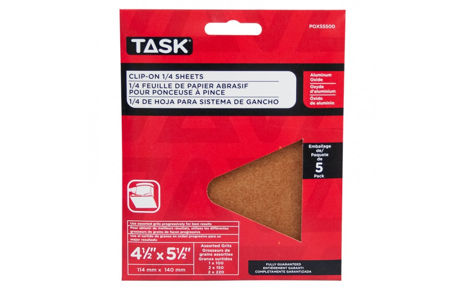 """4-1/2"""" x 5-1/2"""" Assorted Grits Aluminum Oxide 1/4 Clip-On Sheets - 5/pack"""