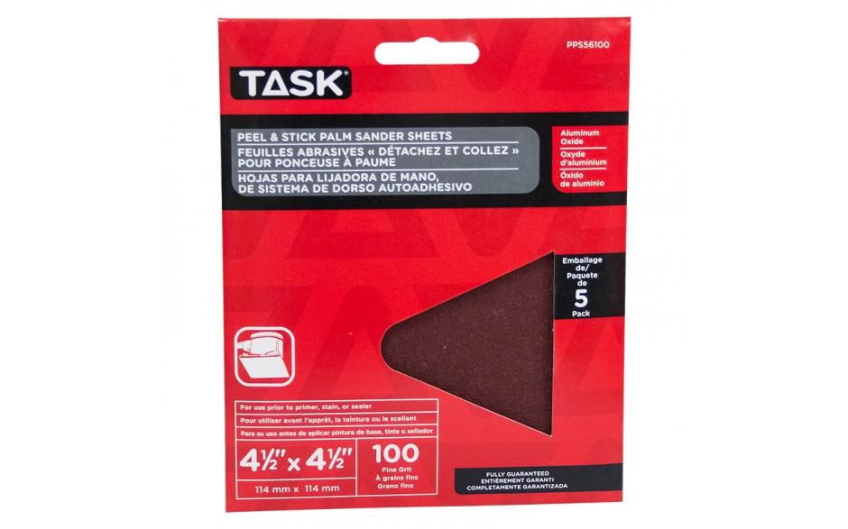 "4-1/2"" x 4-1/2"" Palm Sander 100 Grit Peel & Stick Sanding Discs - 5/pack"