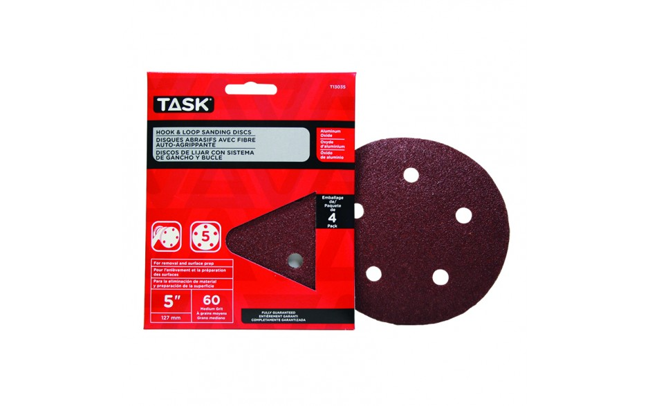 "5"" 5 Hole 60 Grit Hook & Loop Sanding Discs - 4/pack"