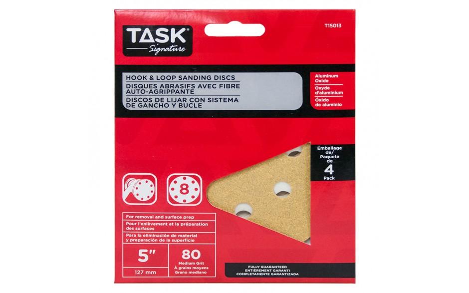 """5"""" 8 Hole 80 Grit Hook & Loop Sanding Discs - 4/pack"""