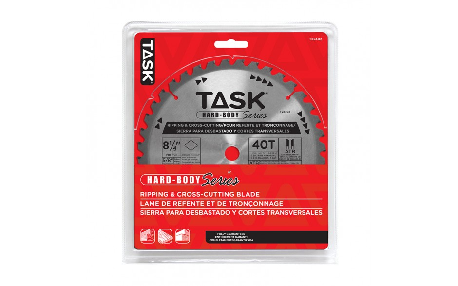"""8-1/4"""" 40T ATB Hard Body Ripping & Cross-Cutting Blade - 1/pack"""
