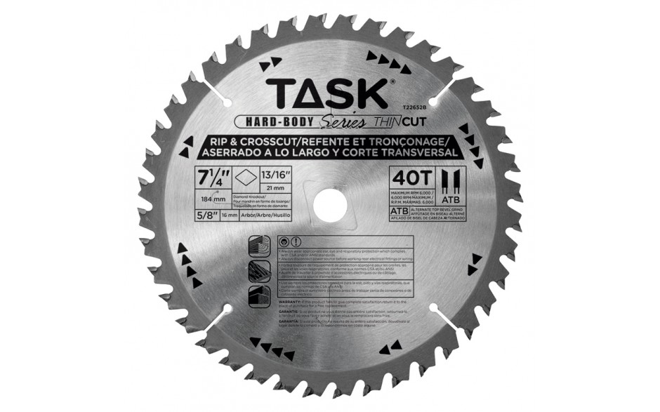 "7-1/4"" 40T ATB Hardbody Thin Kerf Fine Finishing Blade - Bulk"