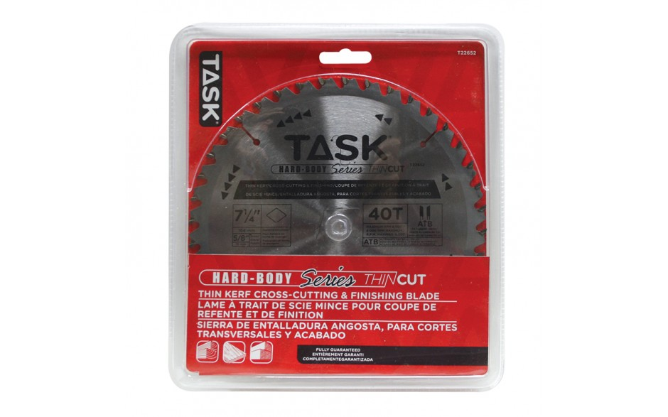 "7-1/4"" 40T ATB Hardbody Thin Kerf Fine Finishing Blade - 1/pack"