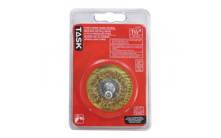 "1-1/2"" Coarse Brass Coated Steel Crimp Wire Wheel - 1/pack"