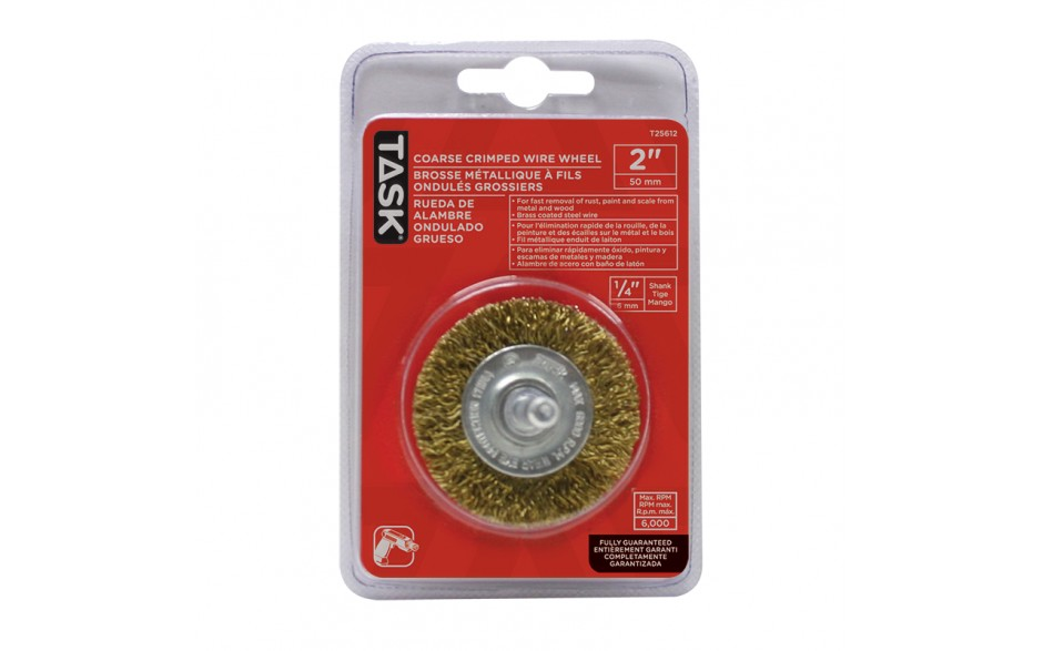 "2"" Coarse Brass Coated Steel Crimp Wire Wheel - 1/pack"
