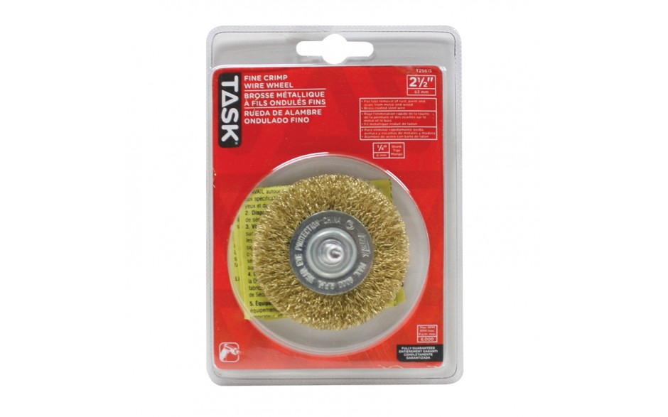 "2-1/2"" Fine Brass Coated Steel Crimp Wire Wheel - 1/pack"
