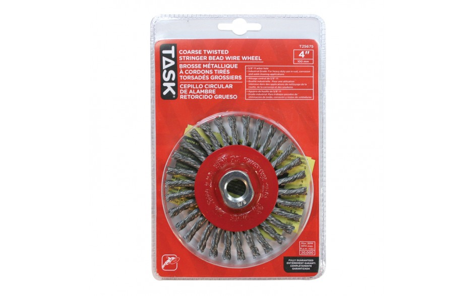 "4"" Coarse Steel Industrial Twisted Stringer Wheel for Angle Grinders - 1/pack"