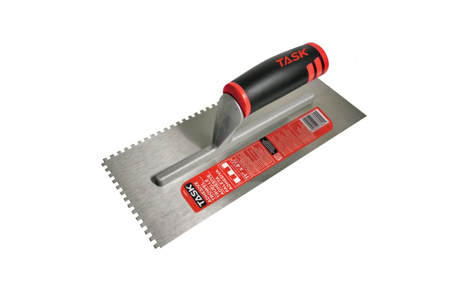 "11"" x 4 1/2"" (1/4"" x 1/4"" x 1/4"") Square Notch Adhesive Trowel with FlexFit Grip"