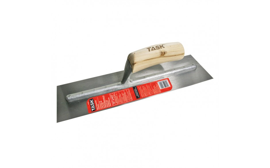 "12"" x 4"" Professional High Carbon Steel Finishing Trowel with Hardwood Handle"