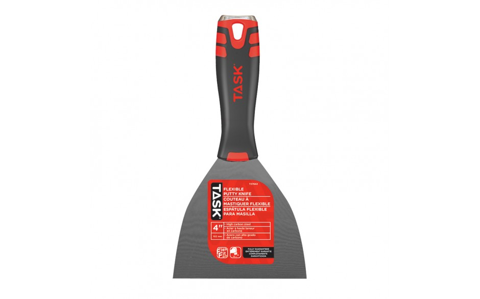 "4"" Flexible High Carbon Steel Putty Knife with FlexFit Grip & Hammer Cap"