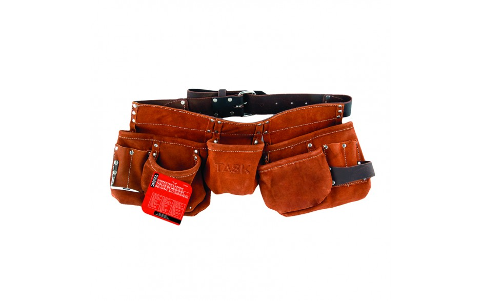 Leather Belt 11 Pocket Carpenter Apron - 1/pack