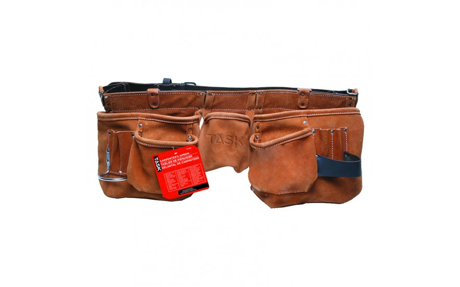 Leather Belt 11 Pocket Oversize Carpenter Apron - 1/pack