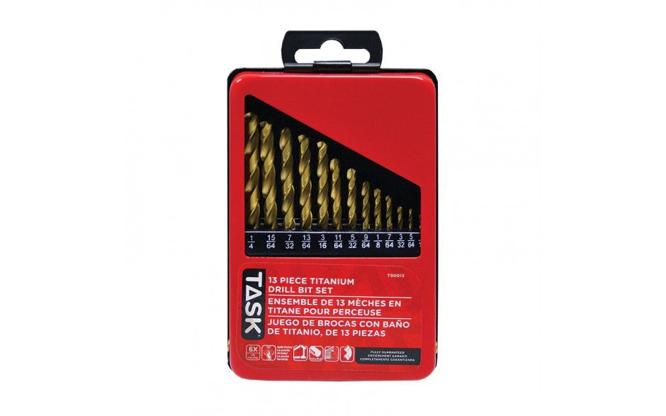 13pc Ti-N Coated HSS Drill Bit Set - Metal Index Box