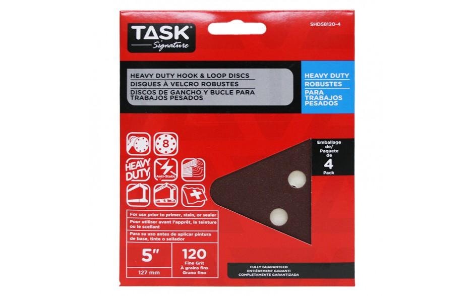 """5"""" 8 Hole 120 Grit Hook & Loop Sanding Discs - 4/pack"""