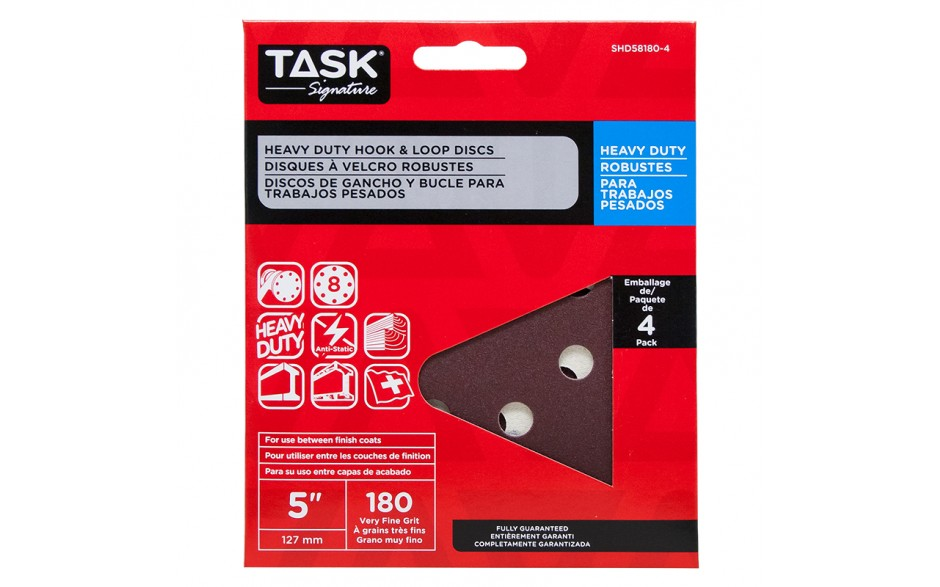 """5"""" 8 Hole 180 Grit Hook & Loop Sanding Discs - 4/pack"""