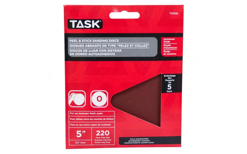 "5"" No Hole 240 Grit Peel & Stick Sanding Discs - 5/pack"