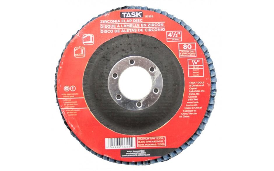 """4-1/2"""" 80 Grit 7/8"""" Arbor Alumina Zirconia Flap Discs - Bulk"""