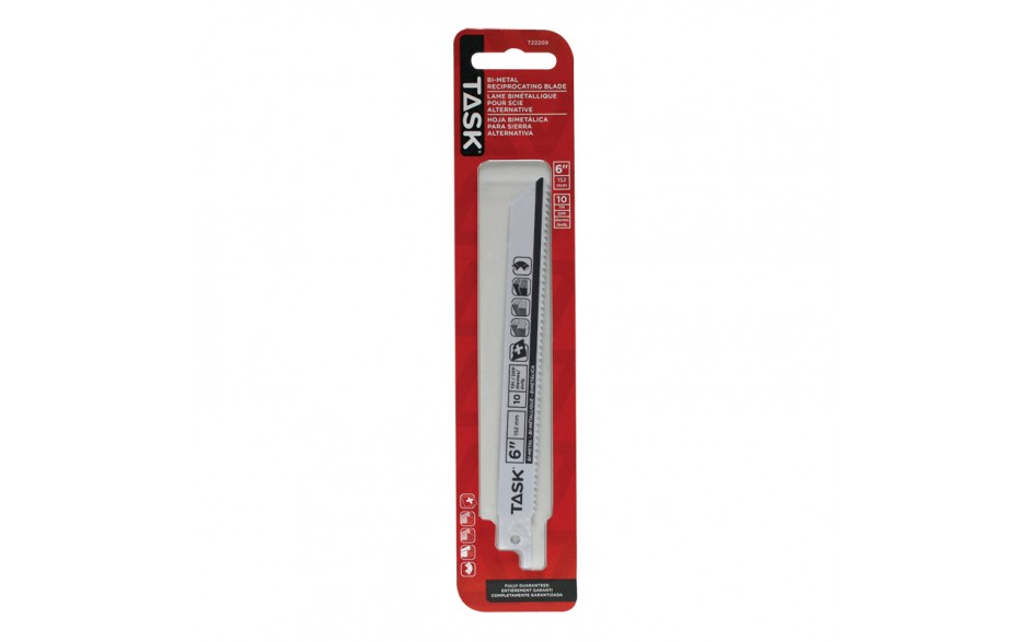 """6"""" 10 TPI 0.050"""" Reciprocating Blade for Nailed Wood & Non-Ferrous Metal - 1/pack"""