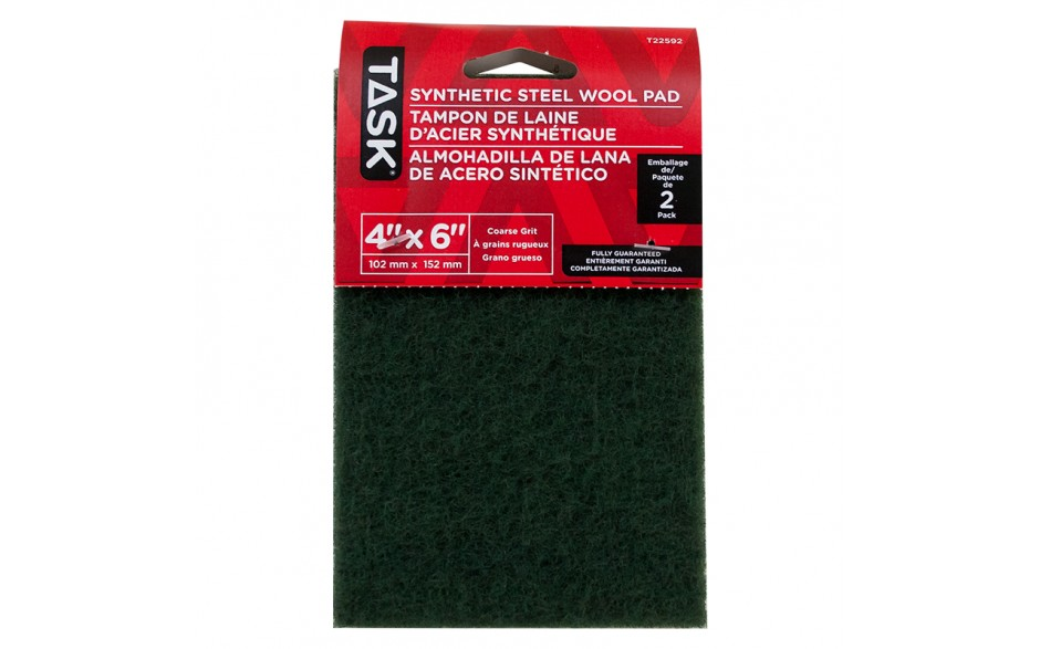 """4"""" x 6"""" Course Green Synthetic Steel Wool Pad - 2/pack"""
