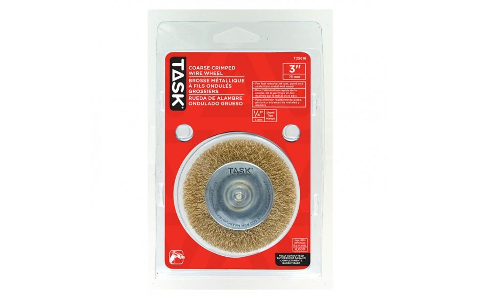 "3"" Coarse Brass Coated Steel Crimp Wire Wheel - 1/pack"