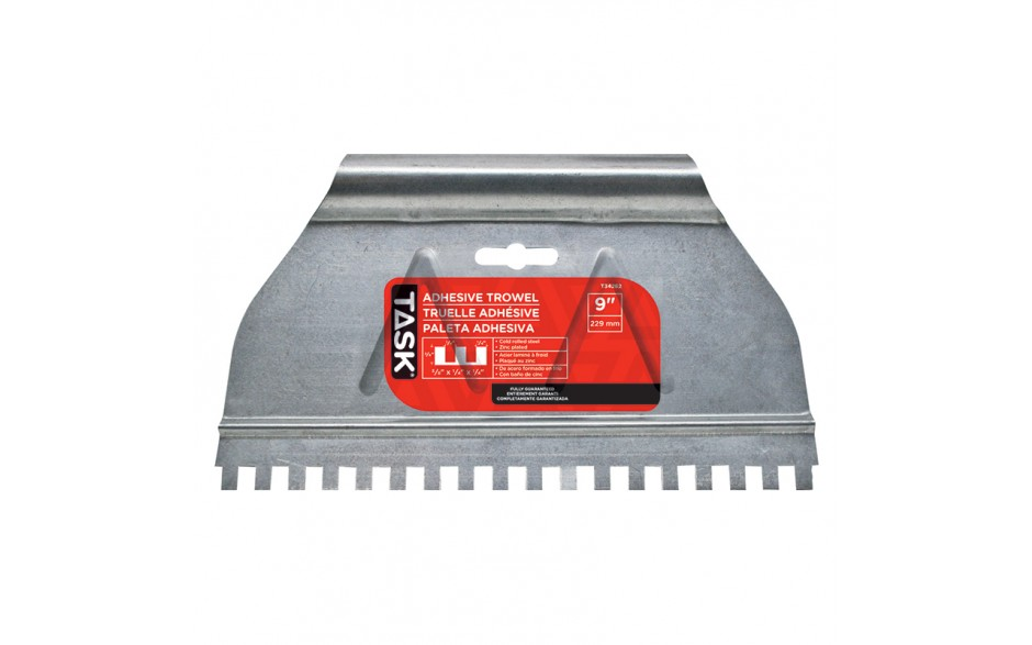 "9"" (3/8"" x 1/4"" x 1/4"") Square Notch Adhesive Spreader"