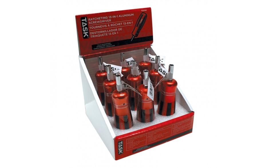 13-in-1 Ratcheting Screwdriver with Aluminum Handle - 9 per Display Box
