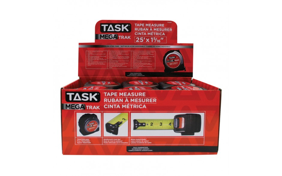 "25' x 1-5/16"" MegaTrak Stainless Steel Tape Measure - 12 per Display Box"