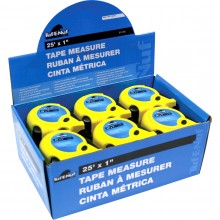 "25' x 1"" Rubber Jacket Tape Measure - 12 per Display Box"