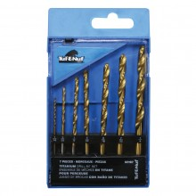 7pc Ti-N Coated HSS Drill Bit Set - Plastic Index Box