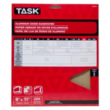 """9"""" x 11"""" 220 Grit Very Fine Premium Aluminum Oxide Sandpaper - 5/pack"""