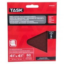 "4-1/2"" x 4-1/2"" Palm Sander 60 Grit Peel & Stick Sanding Discs - 5/pack"