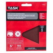 "5"" No Hole 150 Grit Peel & Stick Sanding Discs - 5/pack"