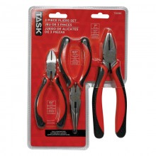 3pc Pliers Set with Soft Touch Rubber Grip - Clamshell