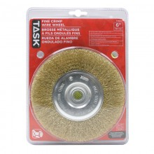 "6"" Fine Brass Coated Steel Crimp Wire Wheel with 1/2"" & 5/8"" Arbor Hole - 1/pack"