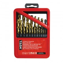 21pc Ti-N Coated HSS Drill Bit Set - Metal Index Box