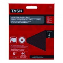"5"" No Hole 60 Grit Peel & Stick Sanding Discs - 4/pack"