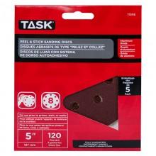 "5"" 8 Hole 120 Grit Peel & Stick Sanding Discs - 5/pack"