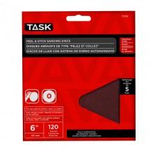"6"" No Hole 120 Grit Peel & Stick Sanding Discs - 5/pack"