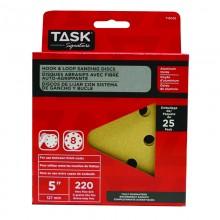 """5"""" 8 Hole 220 Grit Hook & Loop Sanding Discs - 25/pack"""