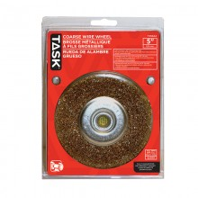 "5"" Coarse Brass Coated Steel Crimp Wire Wheel with 1/2"" & 5/8"" Arbor Hole - 1/pack"