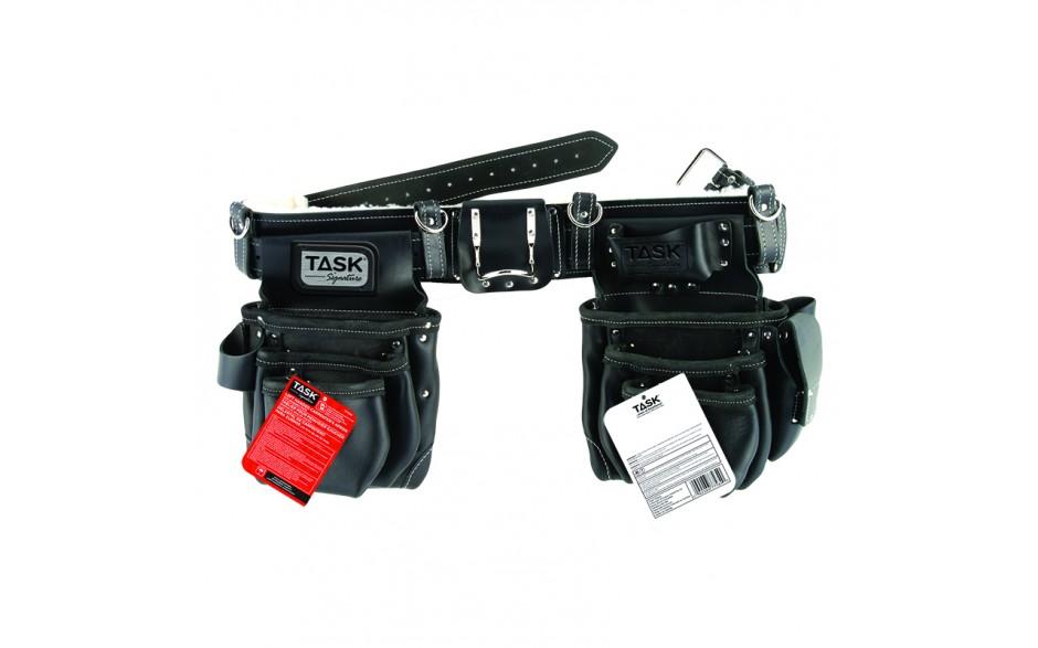 Système de tablier de menuisiers à compartiments pour gaucher avec doublure en cuir de mouton, 11 poches, noir – 1/paquet