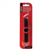 Couteau à lame trapézoïdale métallique avec poignée en caoutchouc – 1/paquet